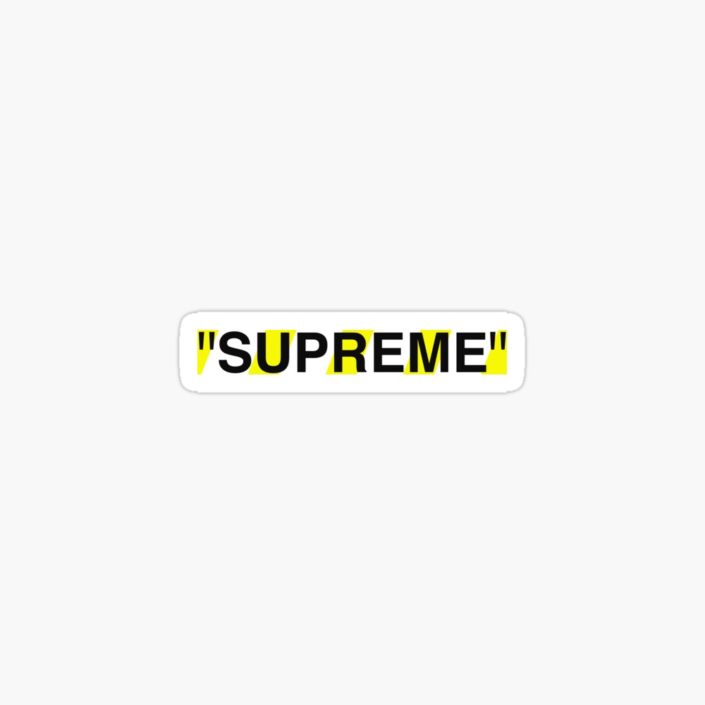 Supreme X Off White Logo Black Yellow White Tapestry By Kxwee Redbubble