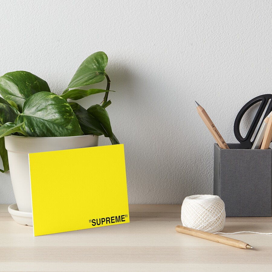 Supreme X Off White Logo Black Yellow White Art Board Print By Kxwee Redbubble