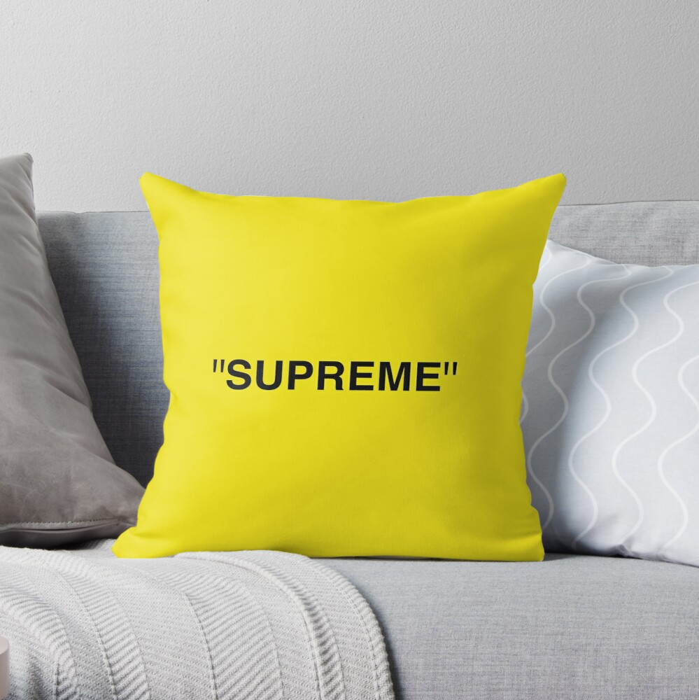 Supreme X Off White Logo Black Yellow White Throw Pillow By Kxwee Redbubble