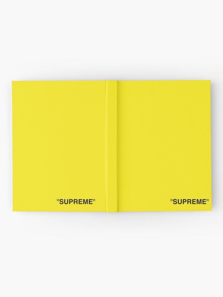 Supreme X Off White Logo Black Yellow White Hardcover Journal By Kxwee Redbubble