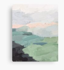 Sage Green Blush Pink Black Sunset Farm Grass Country Abstract Painting Art  Canvas Print