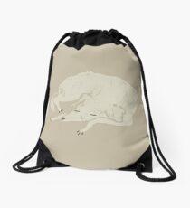White Dog Sleeping Drawstring Bag