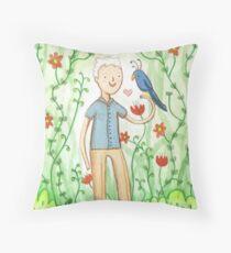 Sir David Attenborough & a Parrot Throw Pillow