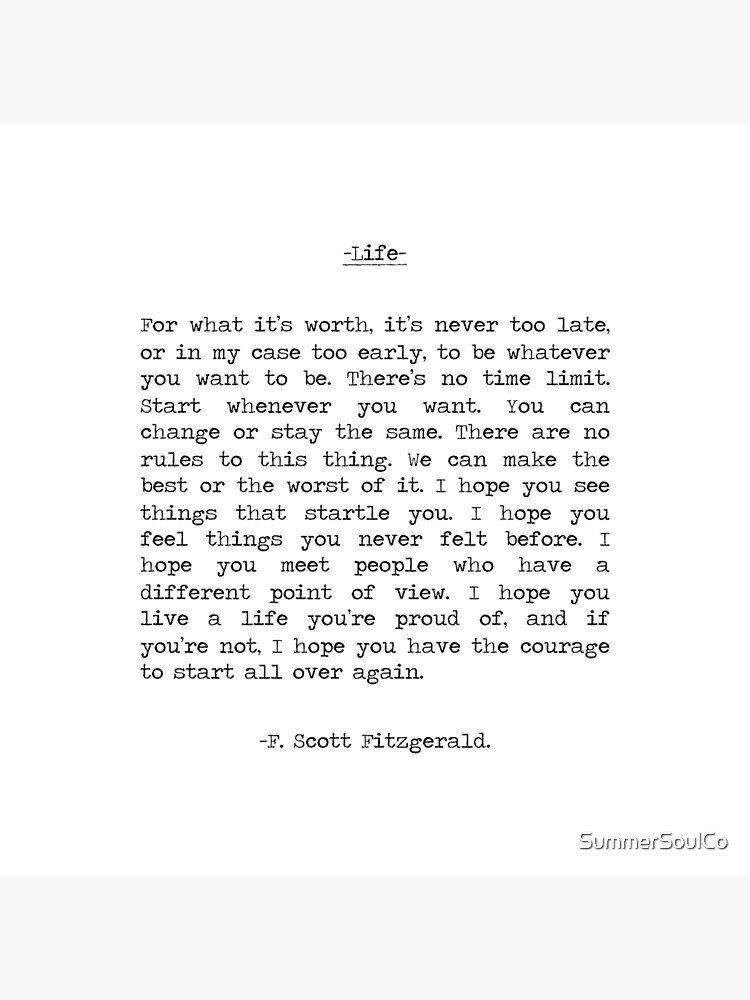 Life quote F. Scott Fitzgerald by SummerSoulCo