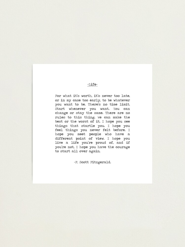 Alternate view of Life quote F. Scott Fitzgerald Photographic Print