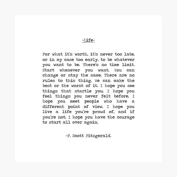 Life quote F. Scott Fitzgerald Photographic Print