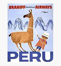 Peru Vintage Travel Poster Restored Photographic Print
