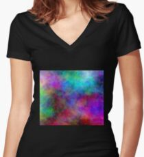 Nebula - Dreamy Psychedelic Space Inspired Art Women's Fitted V-Neck T-Shirt