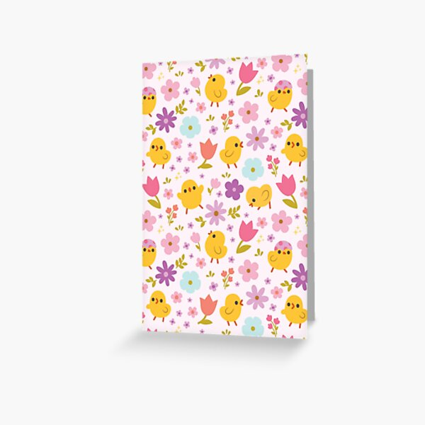 Baby Chicks Spring Florals Pattern Greeting Card