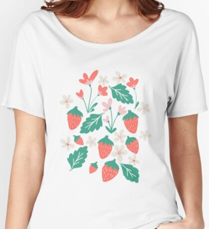 Spring Strawberries on Blue Women's Relaxed Fit T-Shirt
