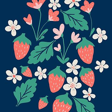 Spring Strawberries on Blue by latheandquill