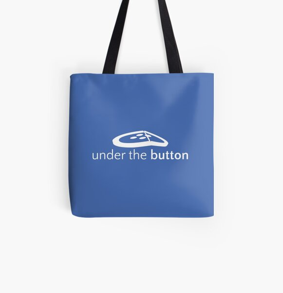 Under the Button Classic White Logo All Over Print Tote Bag