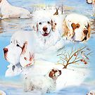 Clumber Spaniels by Jan Irving blue by JAN IRVING