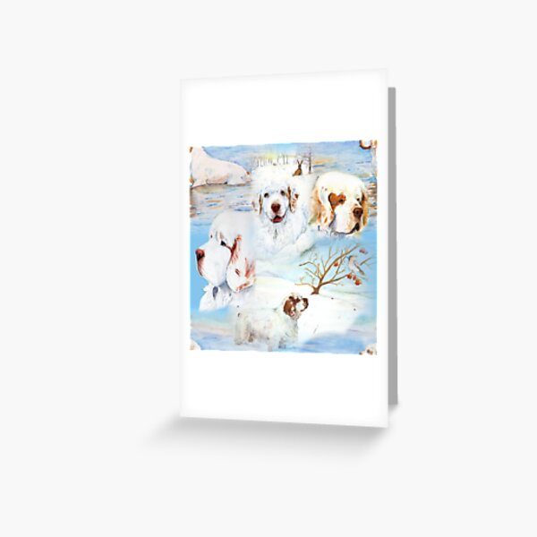 Clumber Spaniels by Jan Irving blue Greeting Card