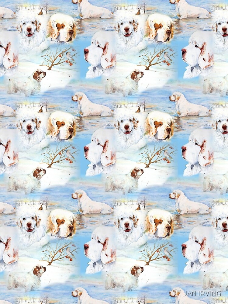 Clumber Spaniels by Jan Irving blue by erinrac