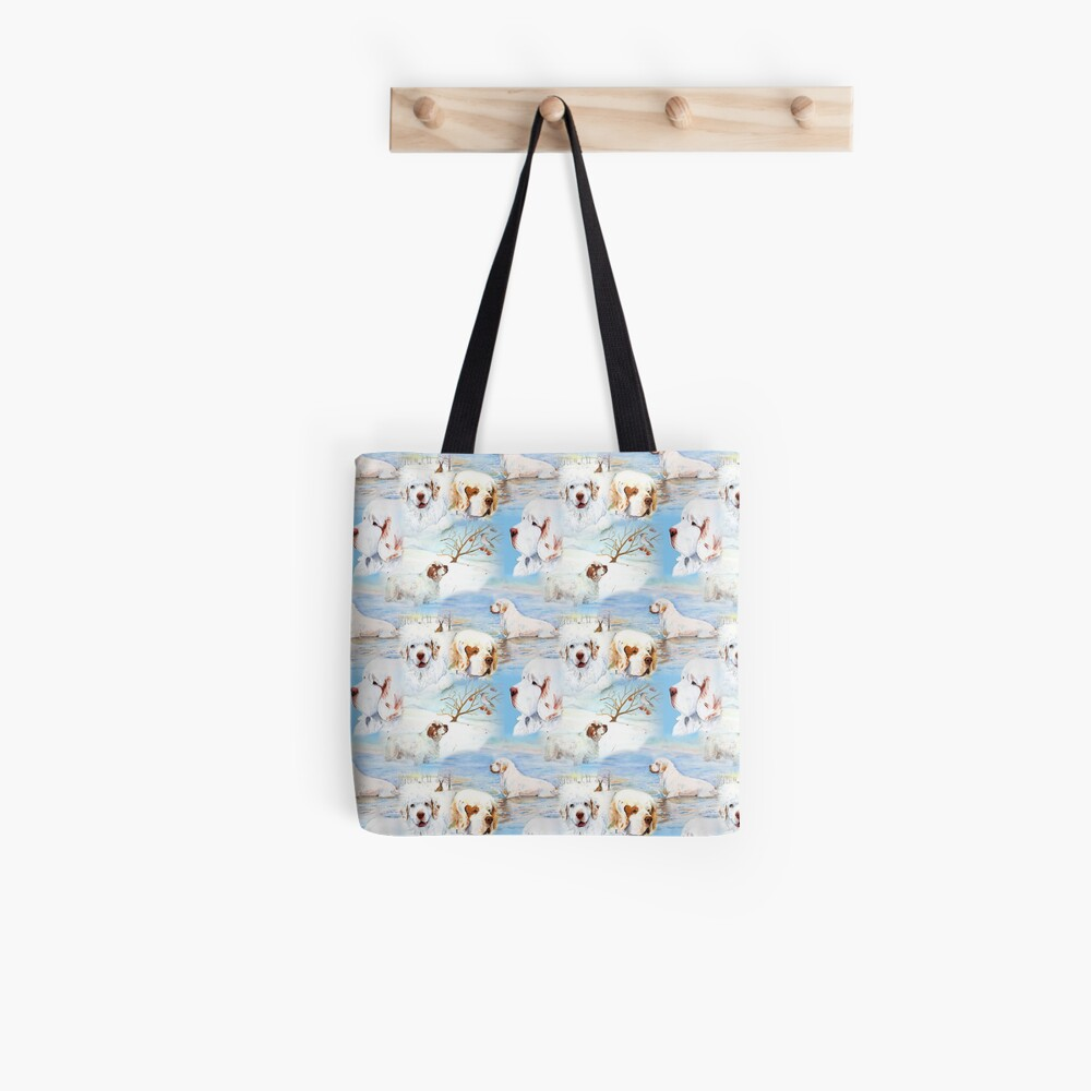 Clumber Spaniels by Jan Irving blue Tote Bag