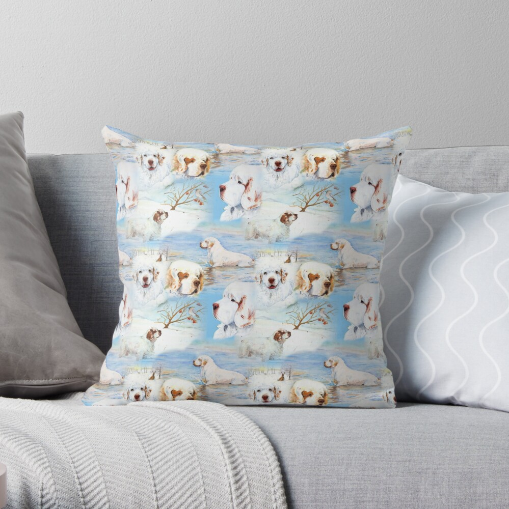 Clumber Spaniels by Jan Irving blue Throw Pillow