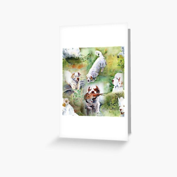 Clumber Spaniels by Jan Irving green Greeting Card