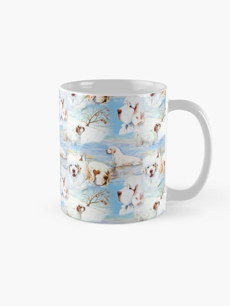 Alternate view of Clumber Spaniels by Jan Irving blue Mug