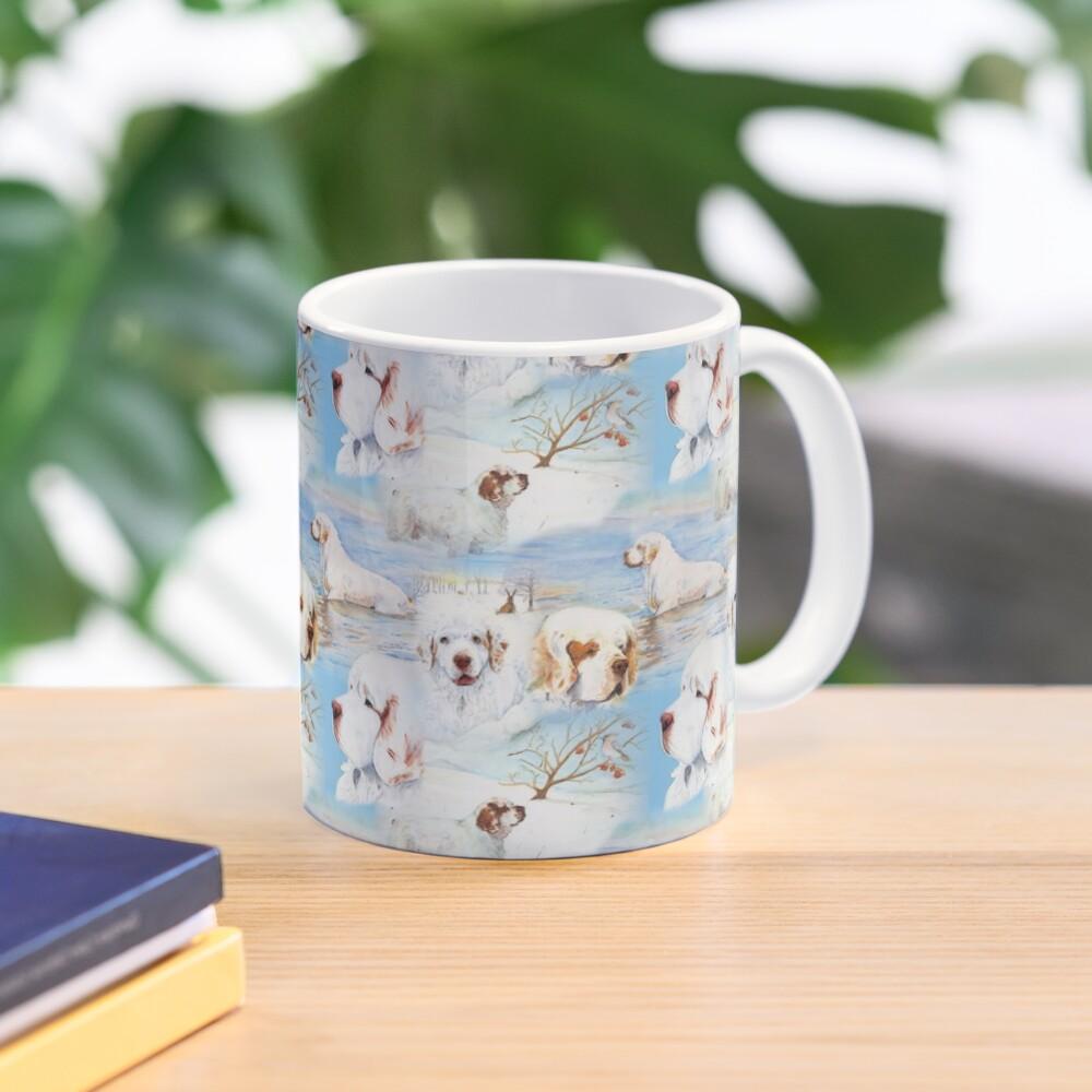 Clumber Spaniels by Jan Irving blue Mug