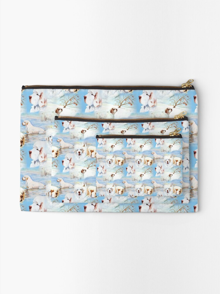 Alternate view of Clumber Spaniels by Jan Irving blue Zipper Pouch