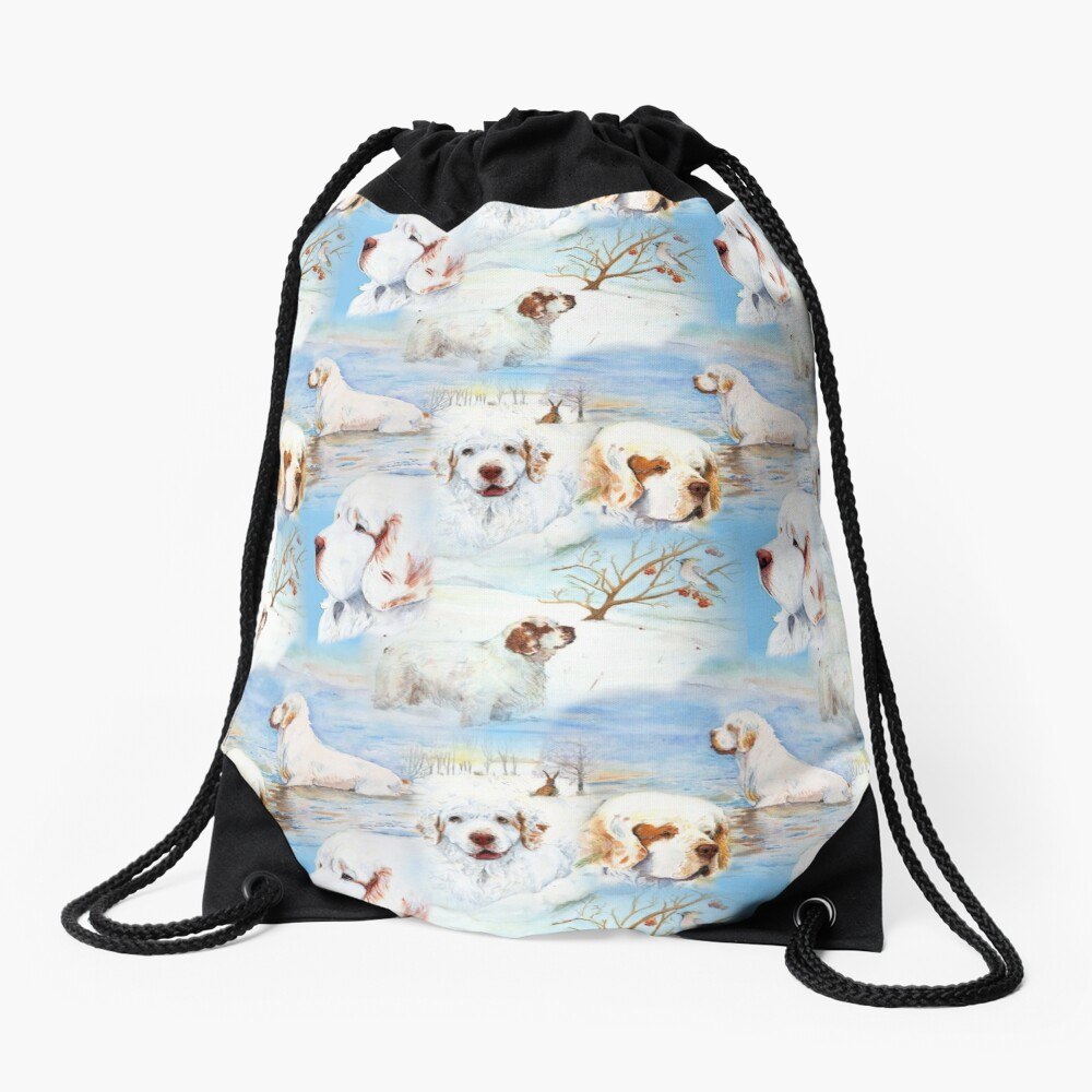 Clumber Spaniels by Jan Irving blue Drawstring Bag