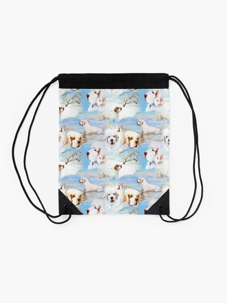 Alternate view of Clumber Spaniels by Jan Irving blue Drawstring Bag