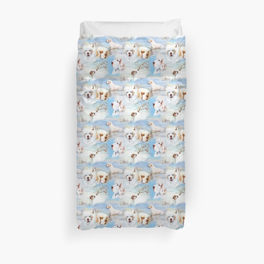 Clumber Spaniels by Jan Irving blue Duvet Cover