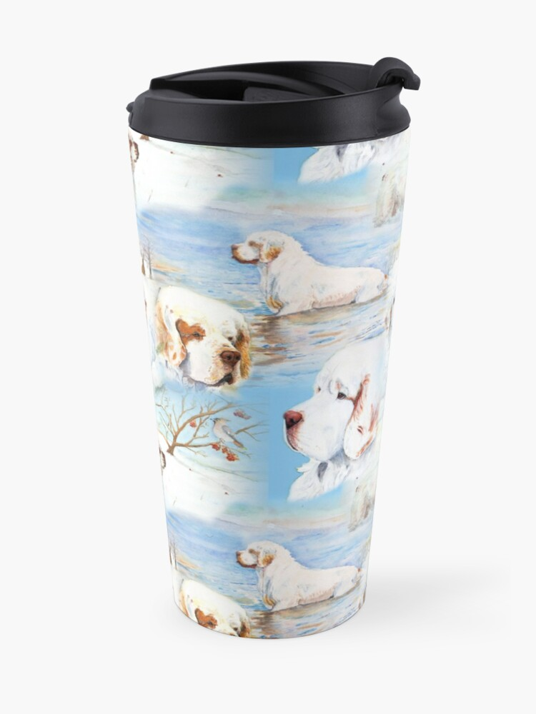 Alternate view of Clumber Spaniels by Jan Irving blue Travel Mug