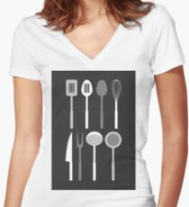 Kitchen Utensil Silhouettes Monochrome Women's Fitted V-Neck T-Shirt