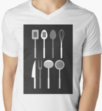 Kitchen Utensil Silhouettes Monochrome Men's V-Neck T-Shirt