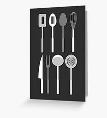 Kitchen Utensil Silhouettes Monochrome Greeting Card
