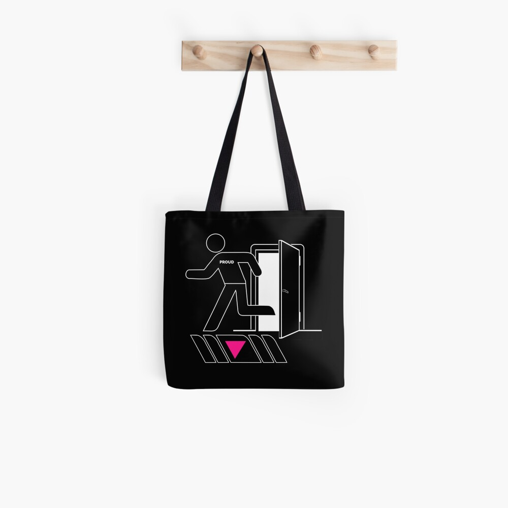 Out and Proud Pink Triangle Flag Pride Tote Bag