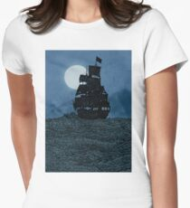 Sailing Under The Moon Womens Fitted T-Shirt