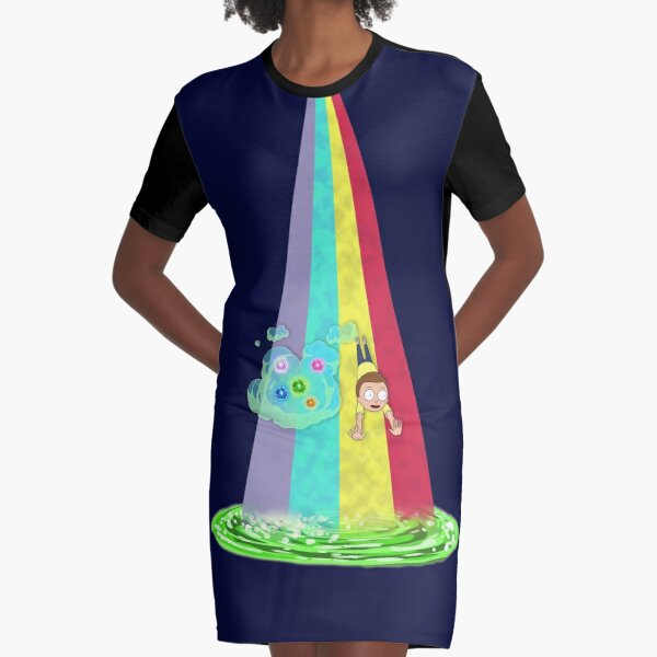 Rainbow Morty Graphic T-Shirt Dress