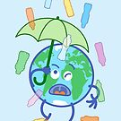 Earth protecting from plastic bottles rain with an umbrella by Zoo-co