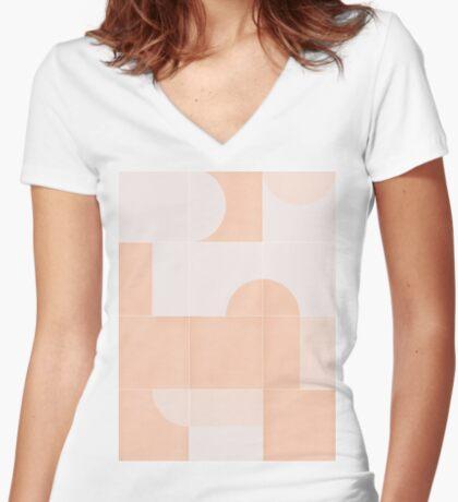 Retro Tiles 06 #redbubble #pattern Fitted V-Neck T-Shirt