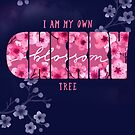 Sakura Affirmation / blue and pink watercolor hand lettering quote by Markéta Stengl