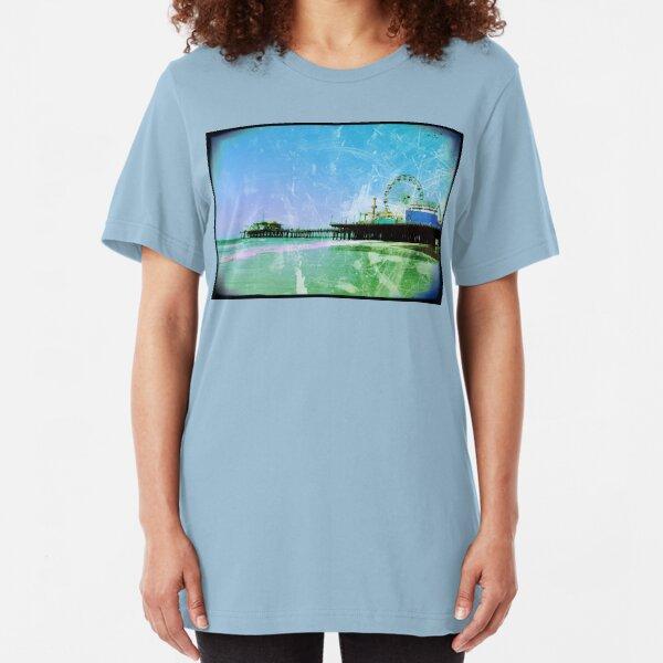 Blue and green Santa Monica Pier Slim Fit T-Shirt