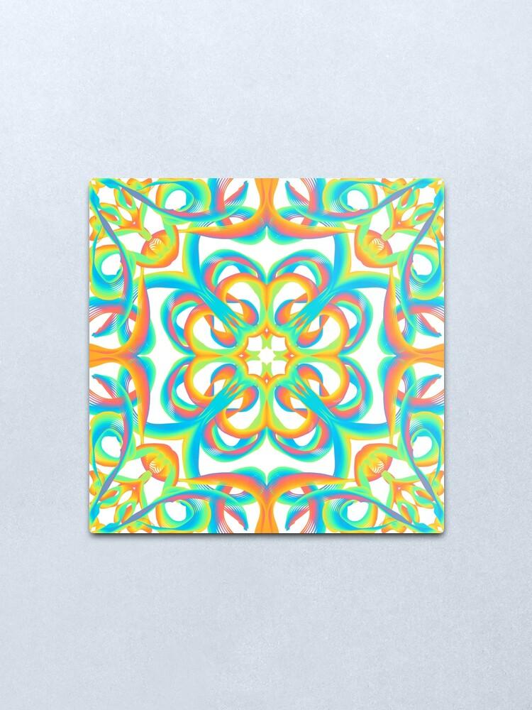 Alternate view of inspire 8 - rainbow flowers Metal Print