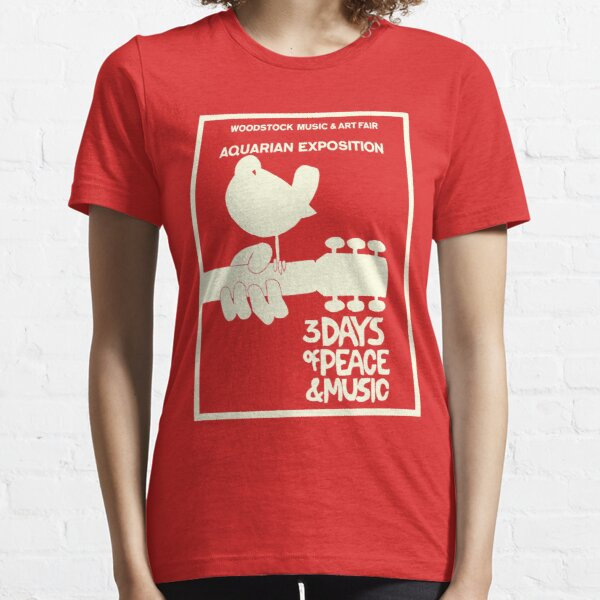 Woodstock 1969 Peace Love Bird Poster White  Essential T-Shirt