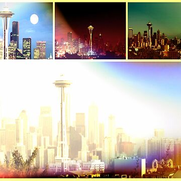 Funky Seattle Space Needle Collage in prismatic Colors by stine1