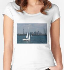 Summer Sailing Postcard from Toronto Women's Fitted Scoop T-Shirt