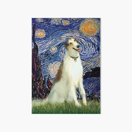 Starry Night - Borzoi (Wolfhound, brown & white) Art Board Print