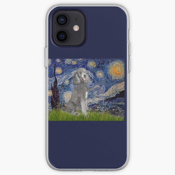 Starry Night - Standard Poodle (silver) iPhone Soft Case