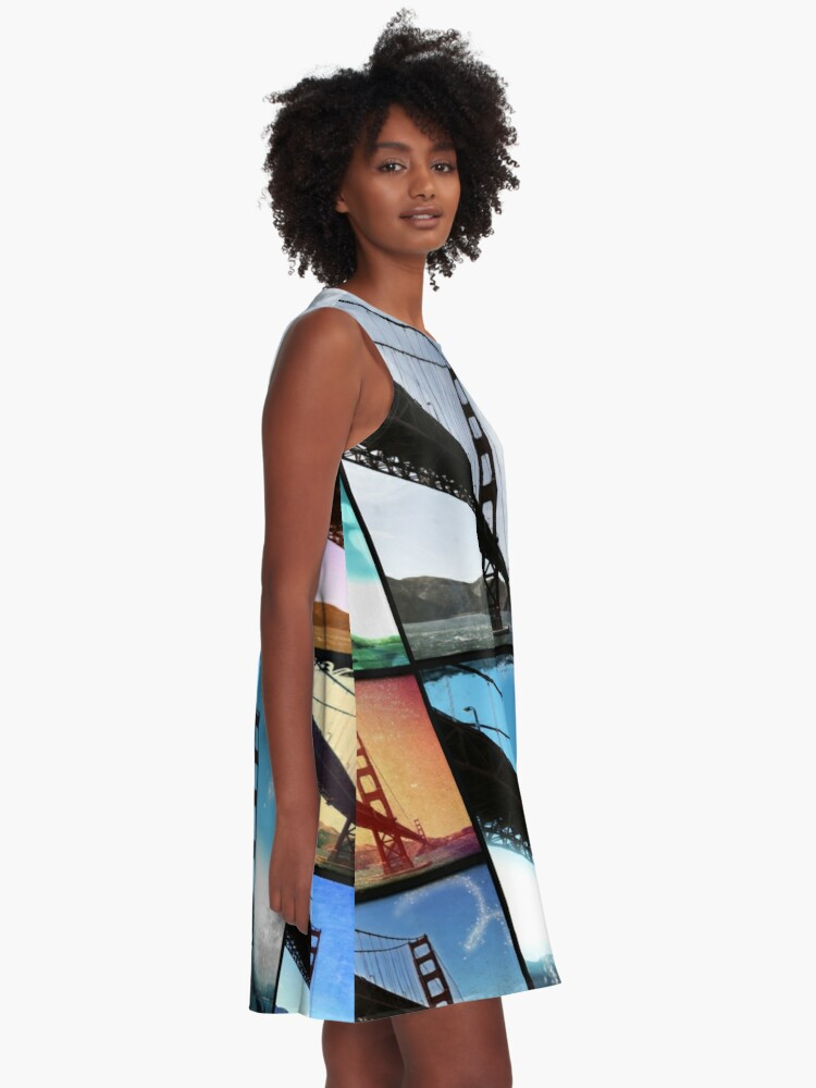 Alternate view of Golden Gate Bridge colorful Photo Collage A-Line Dress