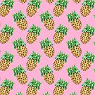 Watercolor Pineapples on Muted Pink by TimorousEclectc