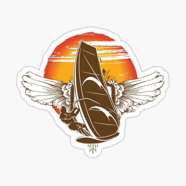 Vintage Retro Wings Windsurfing Gift Sunset Sticker