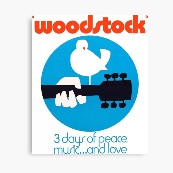 Woodstock 1969 Peace Love Bird Poster White  Canvas Print