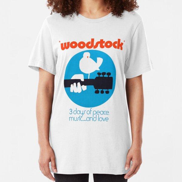 Woodstock 1969 Peace Love Bird Poster White  Slim Fit T-Shirt